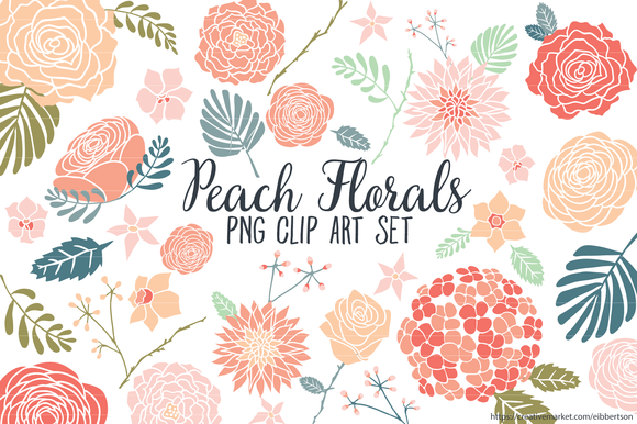 Peach Floral Clipart Flower Clip Art Illustrations On