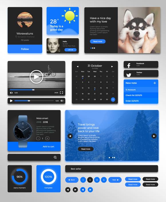 Simple Blue UI Kit