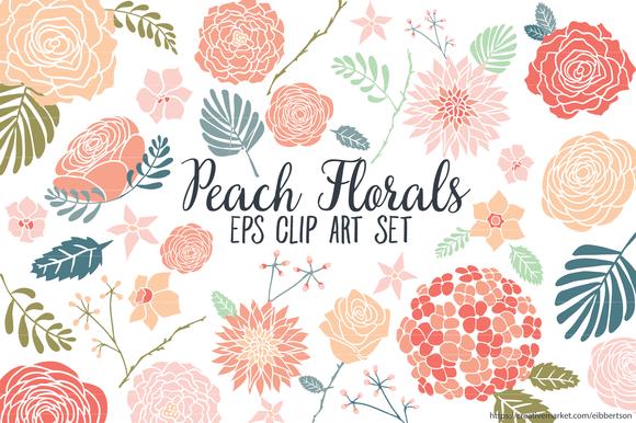Peach Florals Clip Art Vector EPS