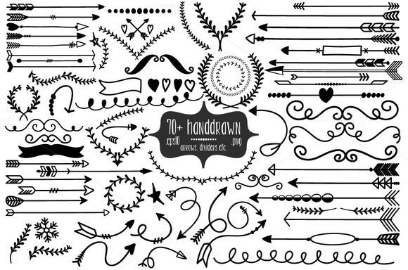 72 Handdrawn Arrows Dividers Etc