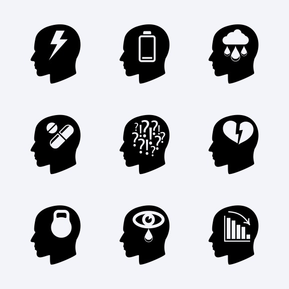 Stress And Depression Icon Set