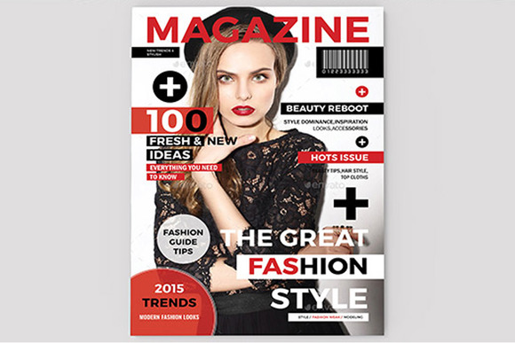 magazine cover template magazine templates on creative market. Black Bedroom Furniture Sets. Home Design Ideas