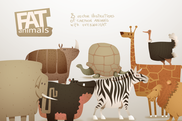 Fat Animals Bundle Vector