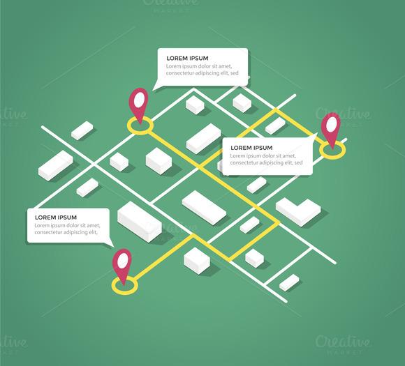 Isometric City Map Design Elements