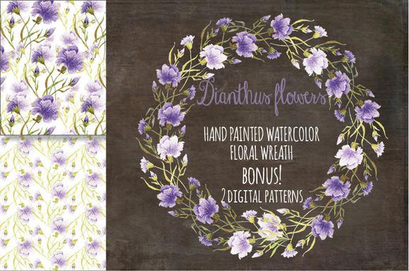 Watercolor Wreath Dianthus Flowers