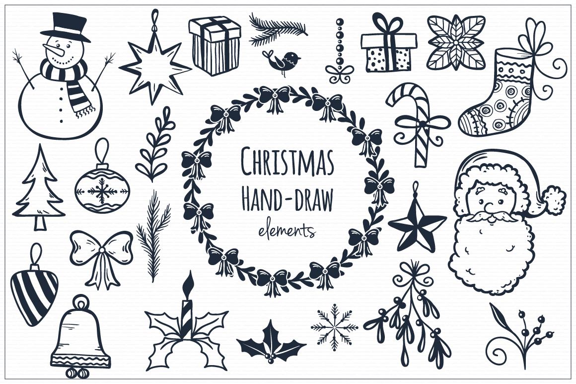 Christmas Hand Draw Elements Illustrations On Creative