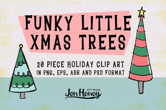 Funky Little X-Mas Trees Clip Art