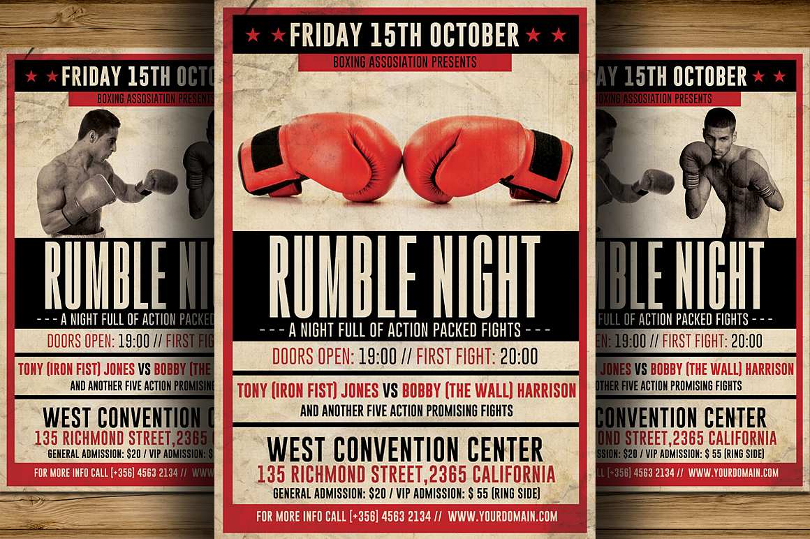 Vintage Boxing Flyer Template Flyer Templates On