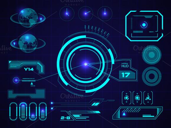Futuristic HUD Touch GUI Elements