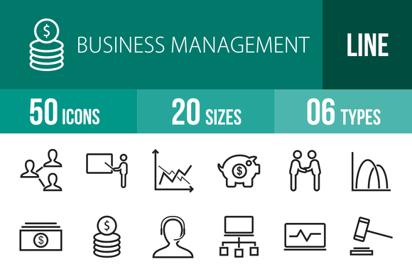 50 Business Management Line Icons