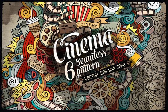 6 Cinema Seamless Patterns