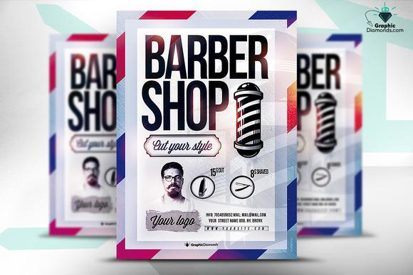 barber shop psd flyer flyer templates on creative market. Black Bedroom Furniture Sets. Home Design Ideas