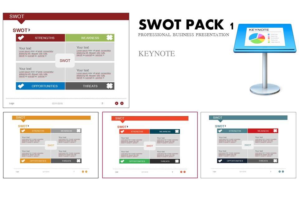 swot pack 1 keynote template presentation templates on creative market. Black Bedroom Furniture Sets. Home Design Ideas
