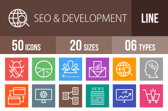 50 SEO Development Line Multicolor