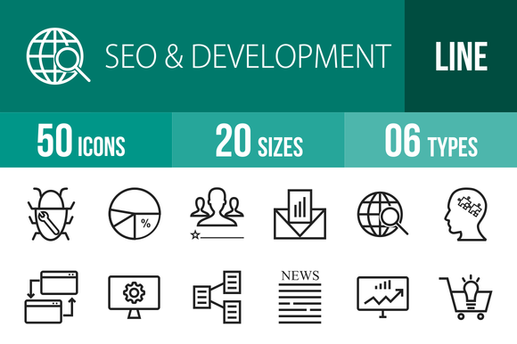 50 SEO Development Line Icons