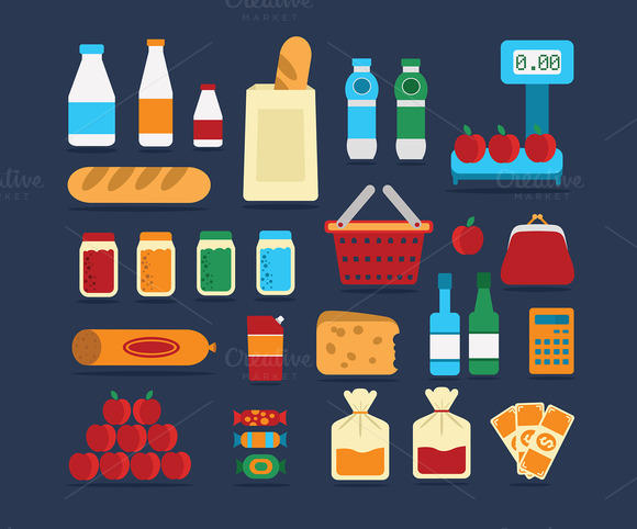 Big set of food products. Vector. - Illustrations