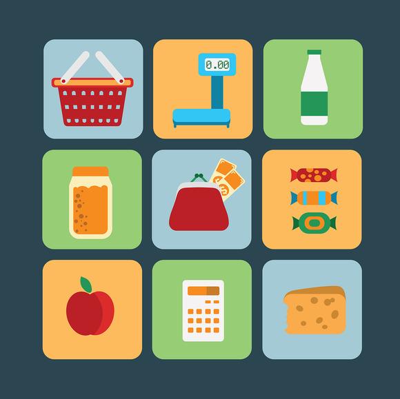 Big set of food products. Vector. - Illustrations