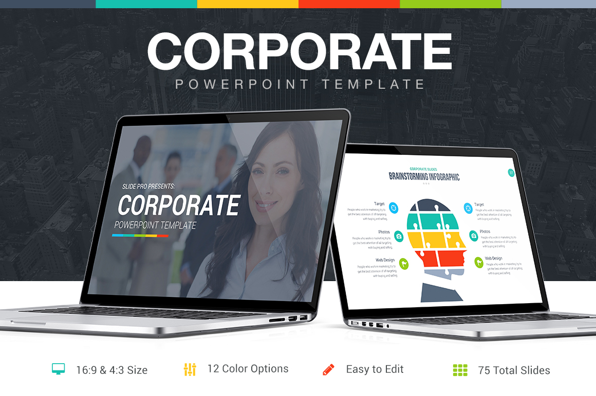 corporate powerpoint template presentation templates on creative market. Black Bedroom Furniture Sets. Home Design Ideas