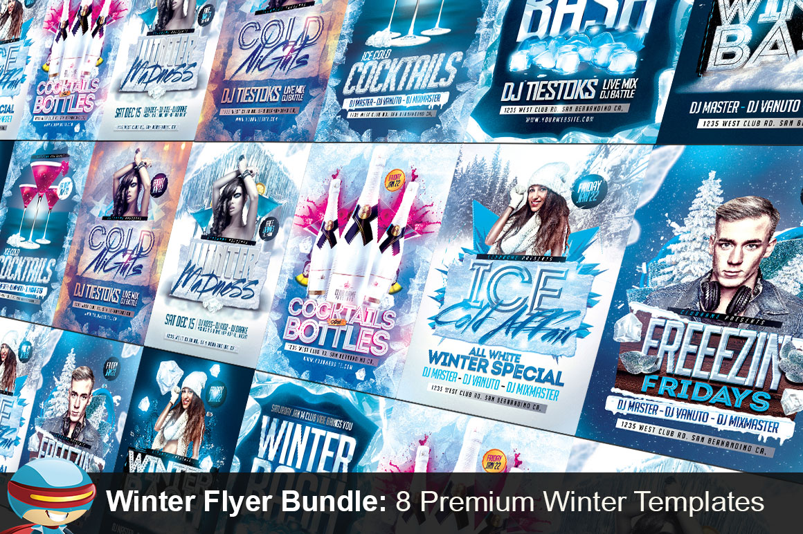 Flyerheroes winter bundle flyer templates on creative market for Flyerheroes free