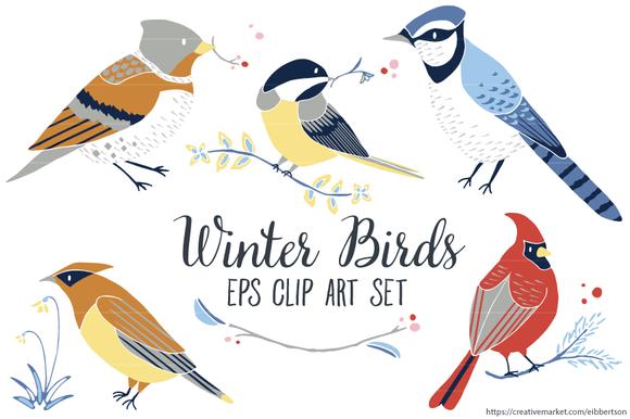 Winter Birds Vector Clip Art EPS