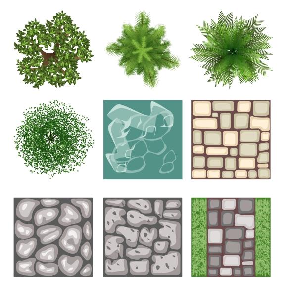 Landscape design top view elements graphics on creative for Element landscape design