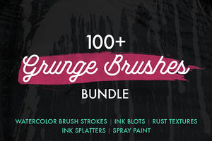 100+ Grunge Photoshop Brushes Bundle
