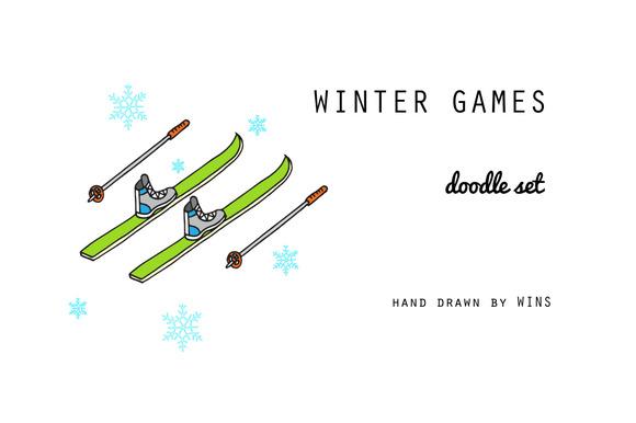 Winter games. Doodle set - Illustrations