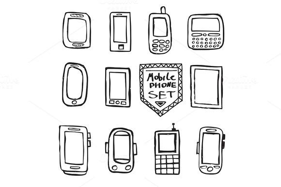 Hand Drawn Set Mobile Gadgets
