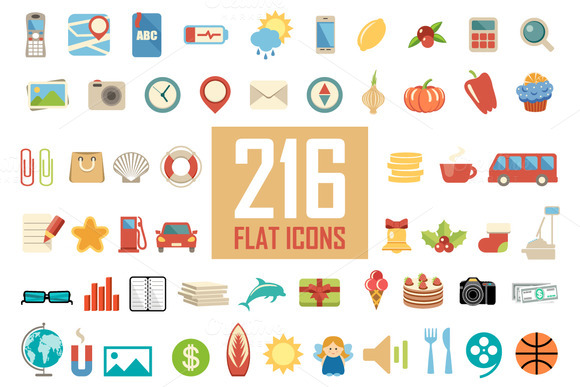 Set From 216 Flat Icons