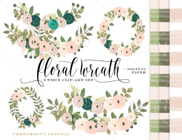 Watercolor Floral Wreath Clipart