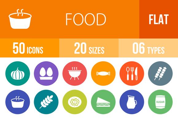 50 Food Flat Round Icons