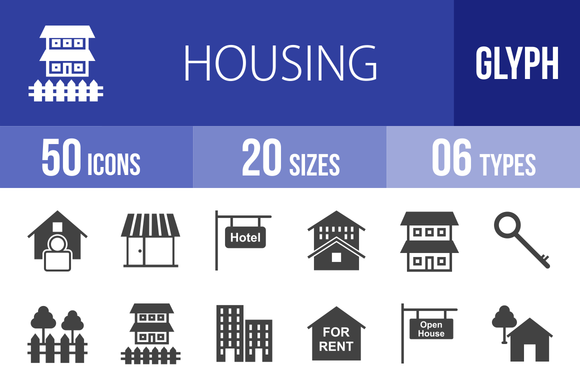 50 Housing Glyph Icons