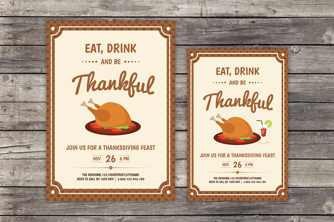 thanksgiving day invitaion flyer flyer templates on creative market. Black Bedroom Furniture Sets. Home Design Ideas