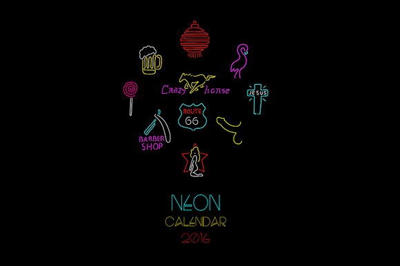 Calendar 2016. Neon sign. - Illustrations