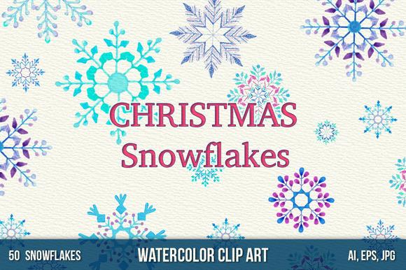 50 Watercolor Snowlakes