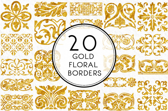 Gold Floral Borders