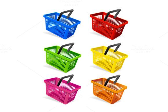 Plastic Basket Set Vector