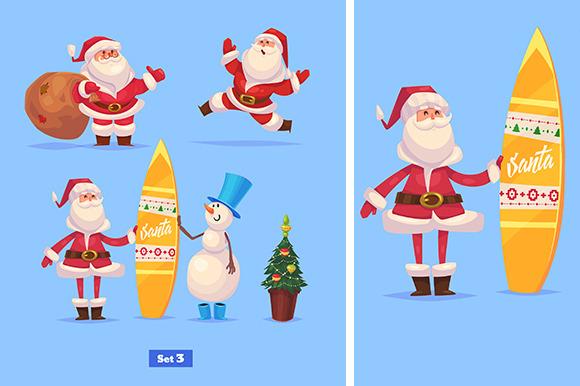 Set 3 Of Funny Santa And Snowman