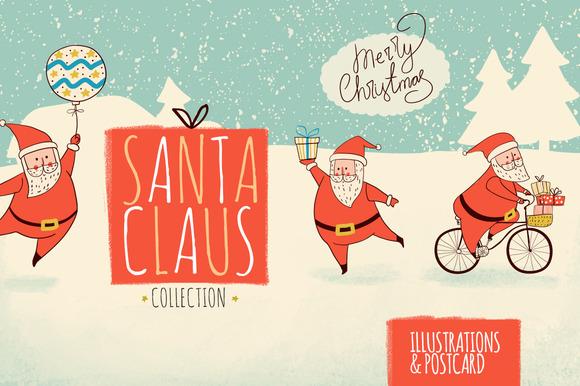 Santa Claus. Christmas cards. - Illustrations