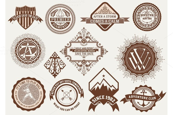 Logotypes Insignias And Badges Set