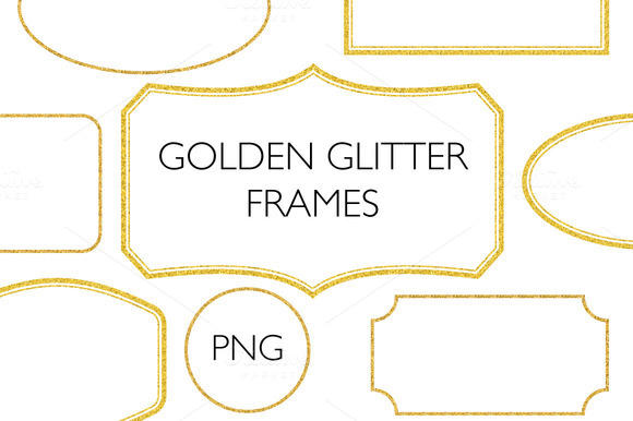 Golden Glitter Frames PNG