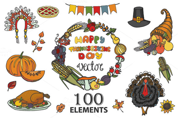Thanksgiving Doodle kit.100 elements - Illustrations
