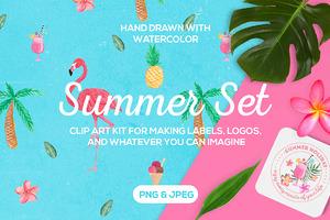 Tropical Summer Clip Art Set