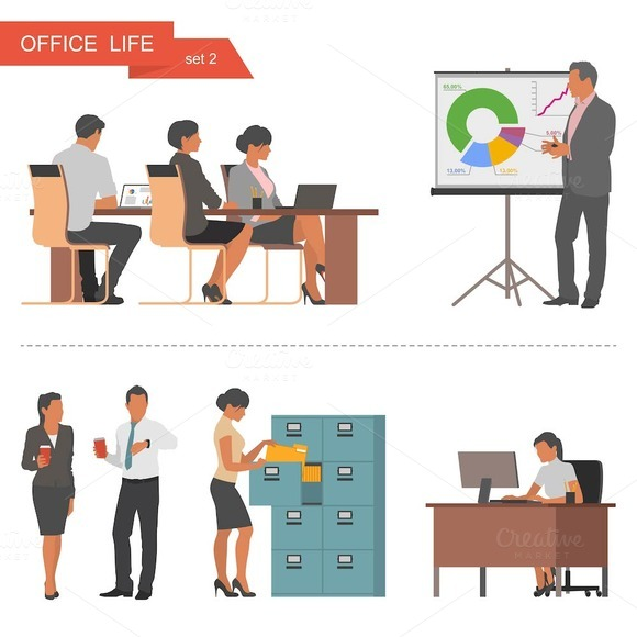 Office life & business icons. Vector - Illustrations