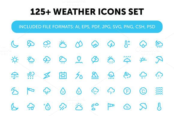 125 Weather Icons Set
