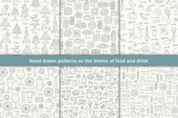 Set Of Patterns With Food And Drink