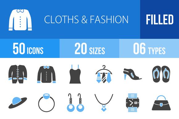 50 Clothes Fashion Blue Black Icons