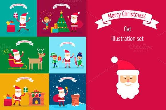 Santa Claus Flat Illustrations Set
