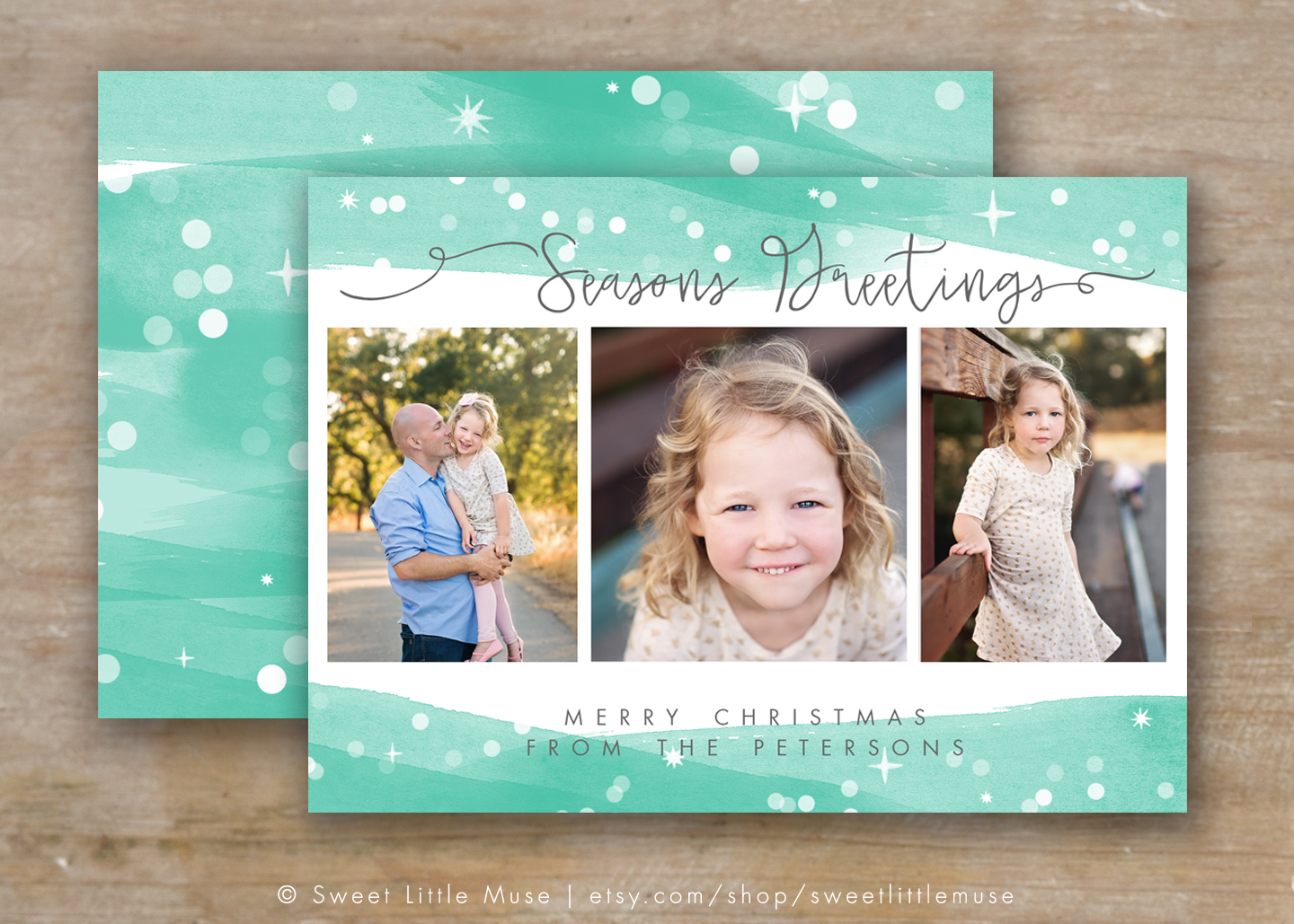 Holiday card template photoshop card templates on creative market for Photoshop holiday card templates