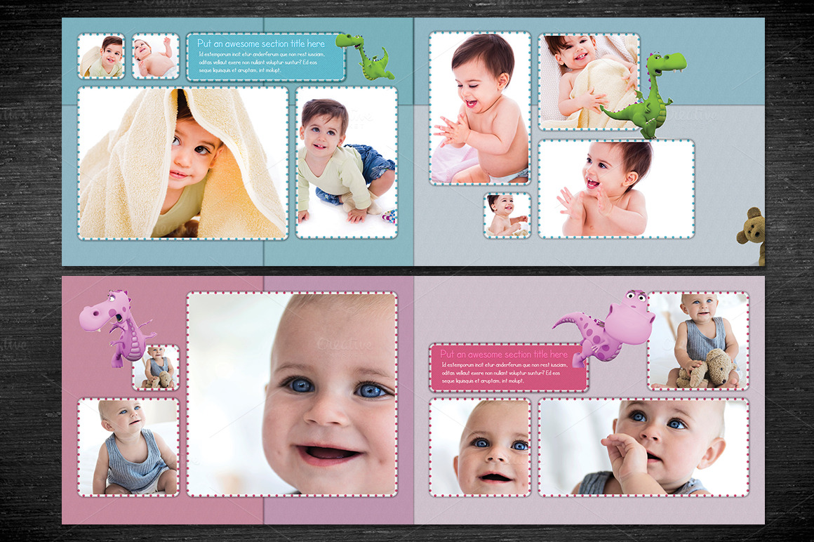 baby photobook album template a4 templates on creative market. Black Bedroom Furniture Sets. Home Design Ideas